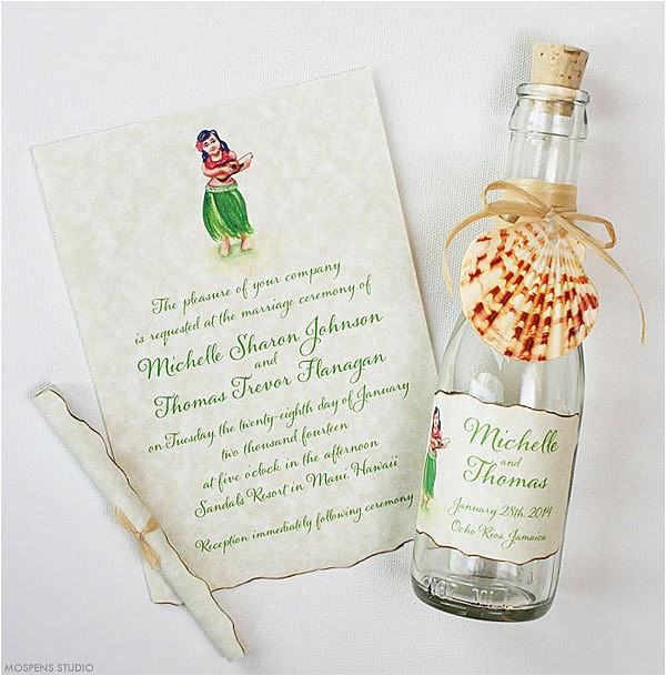 21 bottle beach wedding invitation ideas