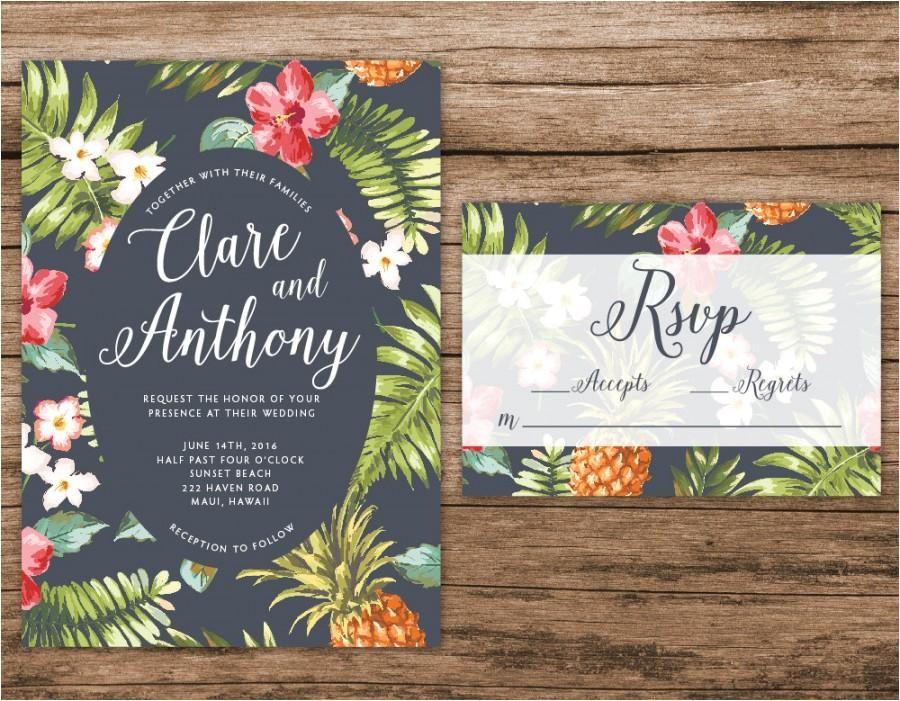 hawaiian wedding invitation tropical wedding invitation palm leaves invitation