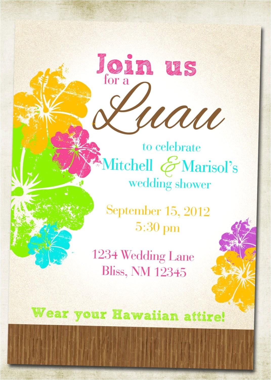 Hawaiian theme Wedding Invitations Luau Hawaiian themed Invitation
