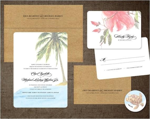 palm tree wedding invitations hibiscus