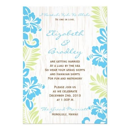 tropical hawaiian wedding invitation turquoise 161217547258942873