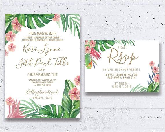 tropical wedding invitation beach