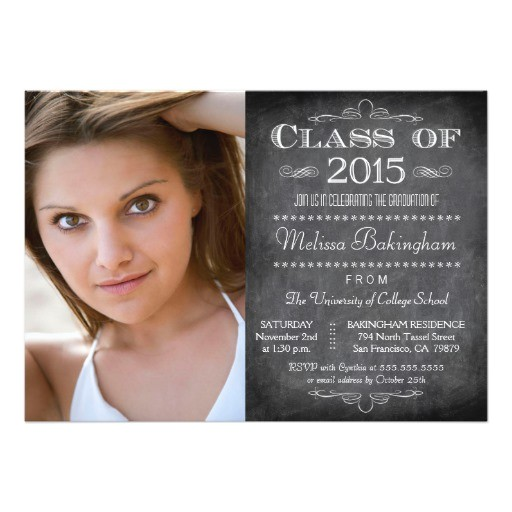 class of 2015 chalkboard photo graduation party invitation 161513173214005602