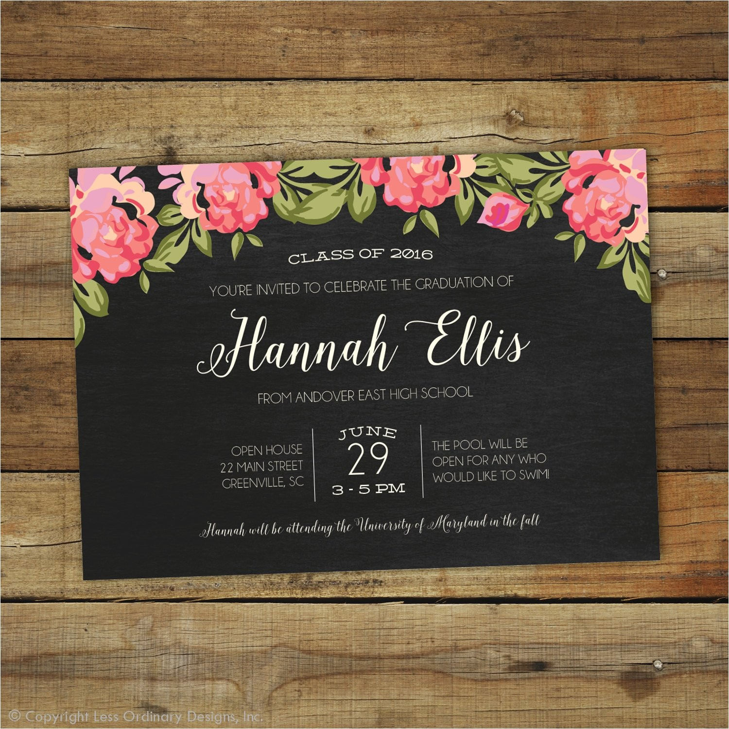 2017 graduation party invitation floral