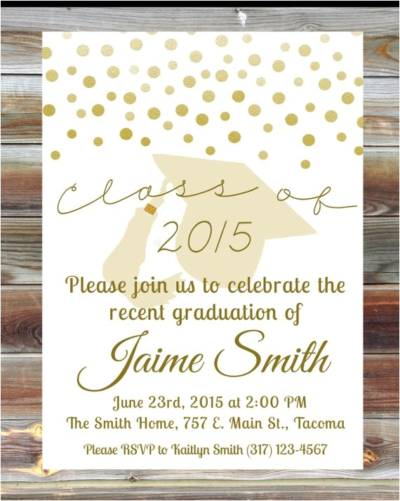custom graduation party invitation gold