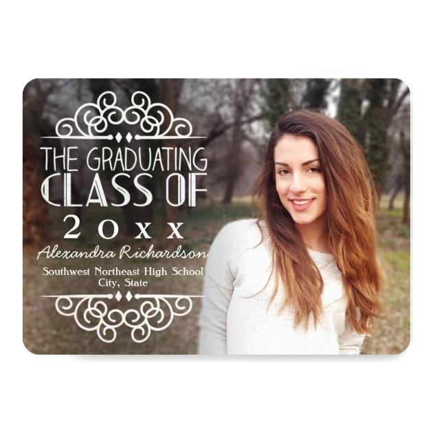 High School Graduation Photo Invitations Personalized Chalkboard Graduation Invitations