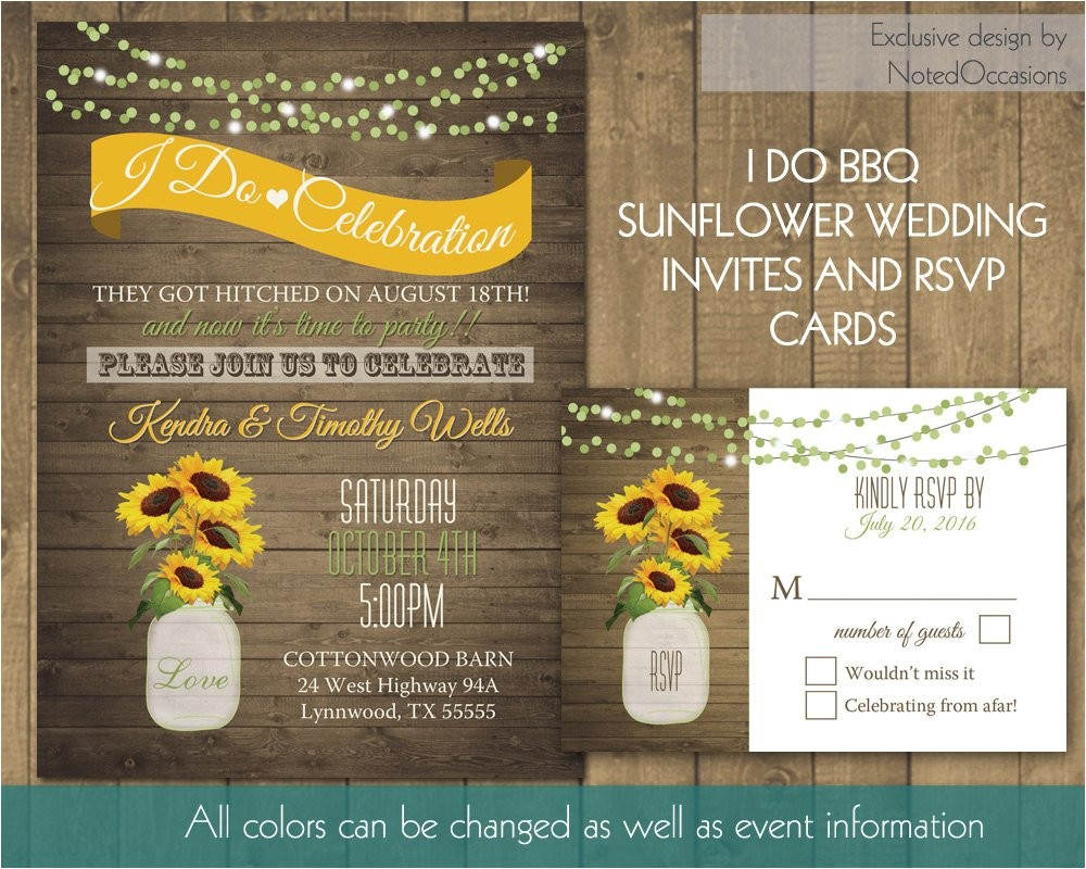 i do bbq wedding reception invitation