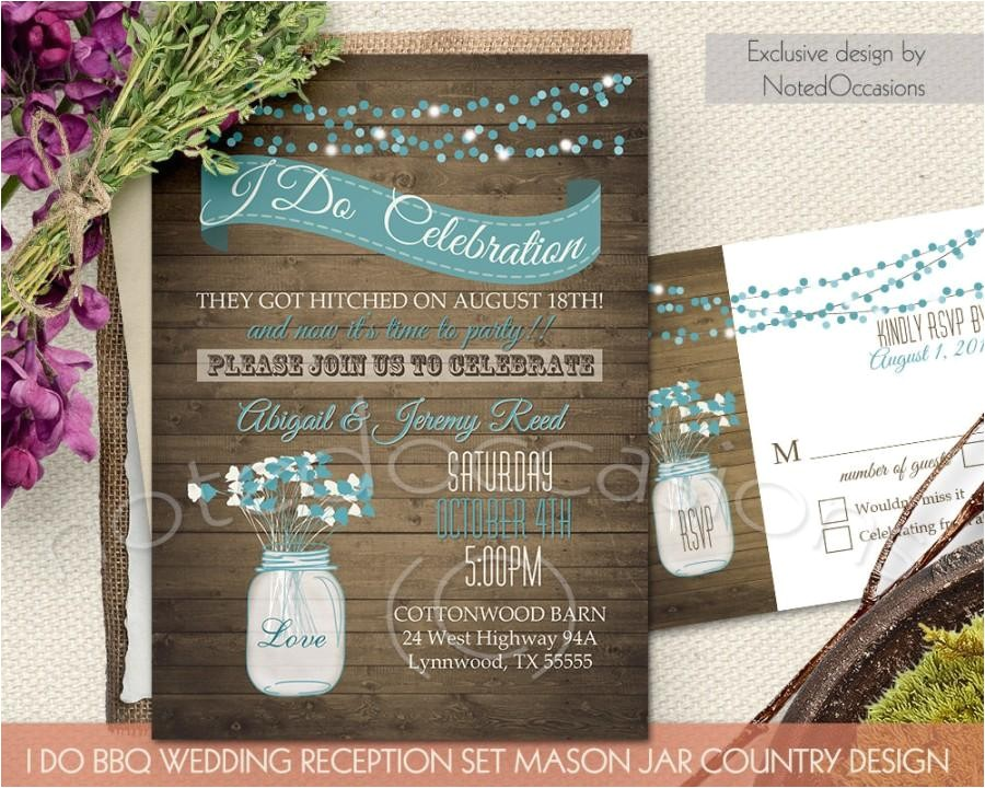 i do bbq wedding invitation printable wedding invitations reception only invitations rustic mason jar country western digital template