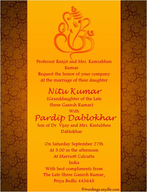 indian wedding invitation wording