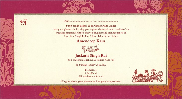 indian wedding invitation wording template
