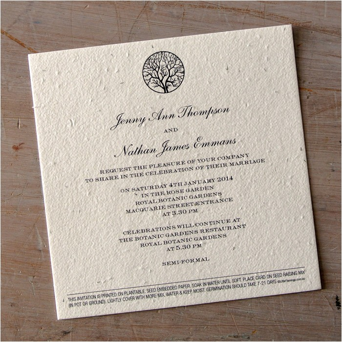 enchanted tree plantable wedding invitations