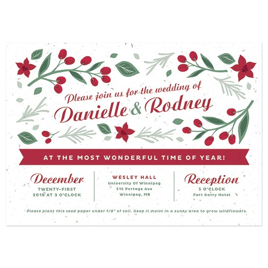 plantable christmas wedding invitation