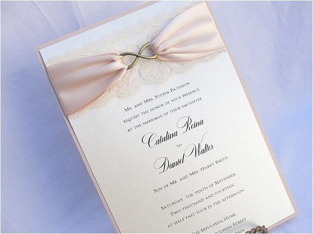 lace wedding invite lace wedding invitation lace invite vintage invitation lace invitation infinity symbolinfinity bronze vertical