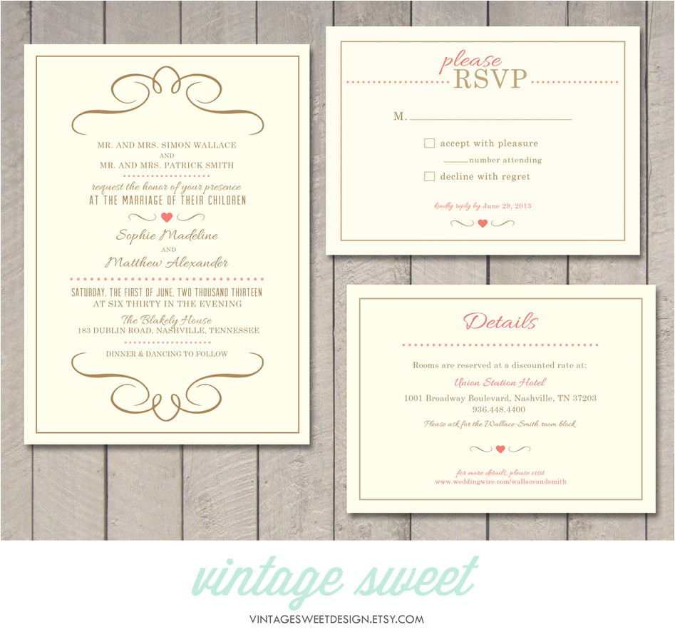 modern wedding invitation rsvp