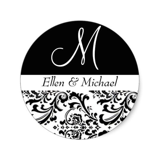 damask wedding monogram black and white invitation classic round sticker 217768652538299245