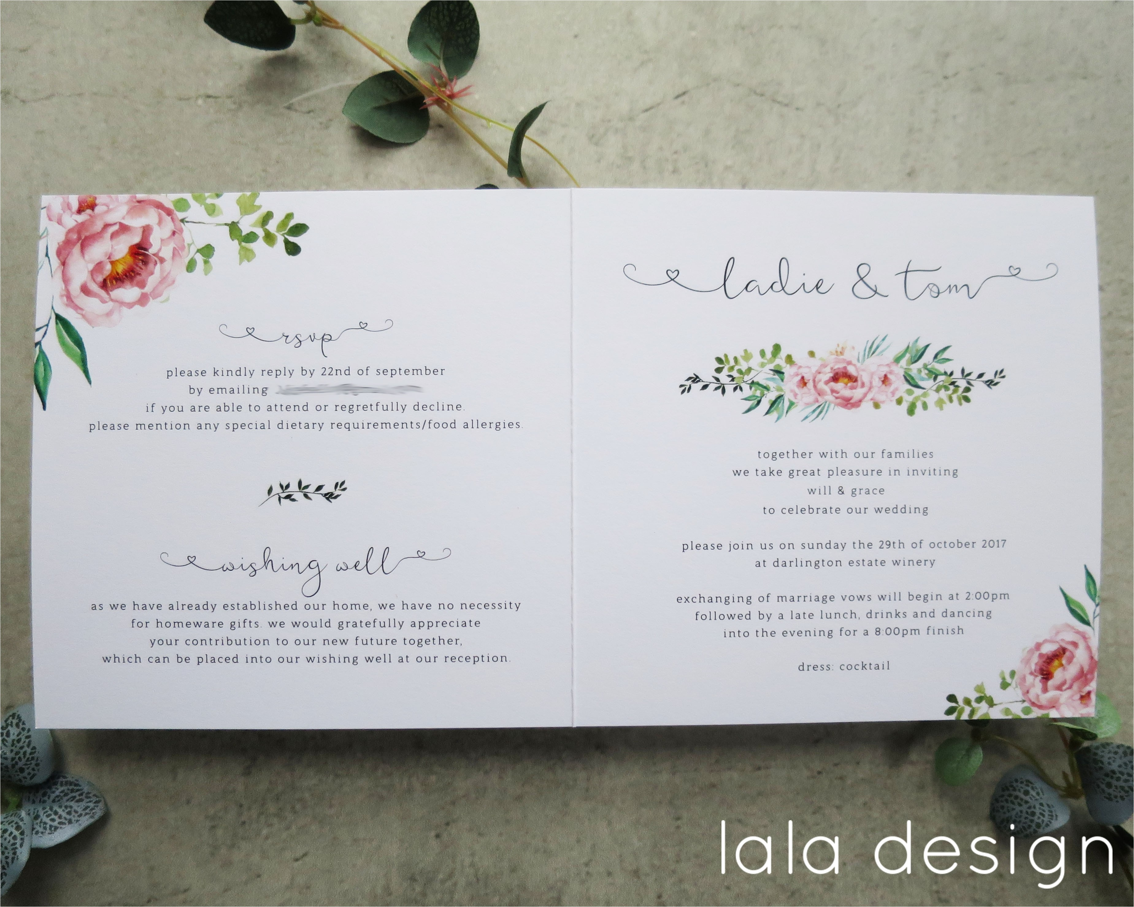 inside a wedding invitation