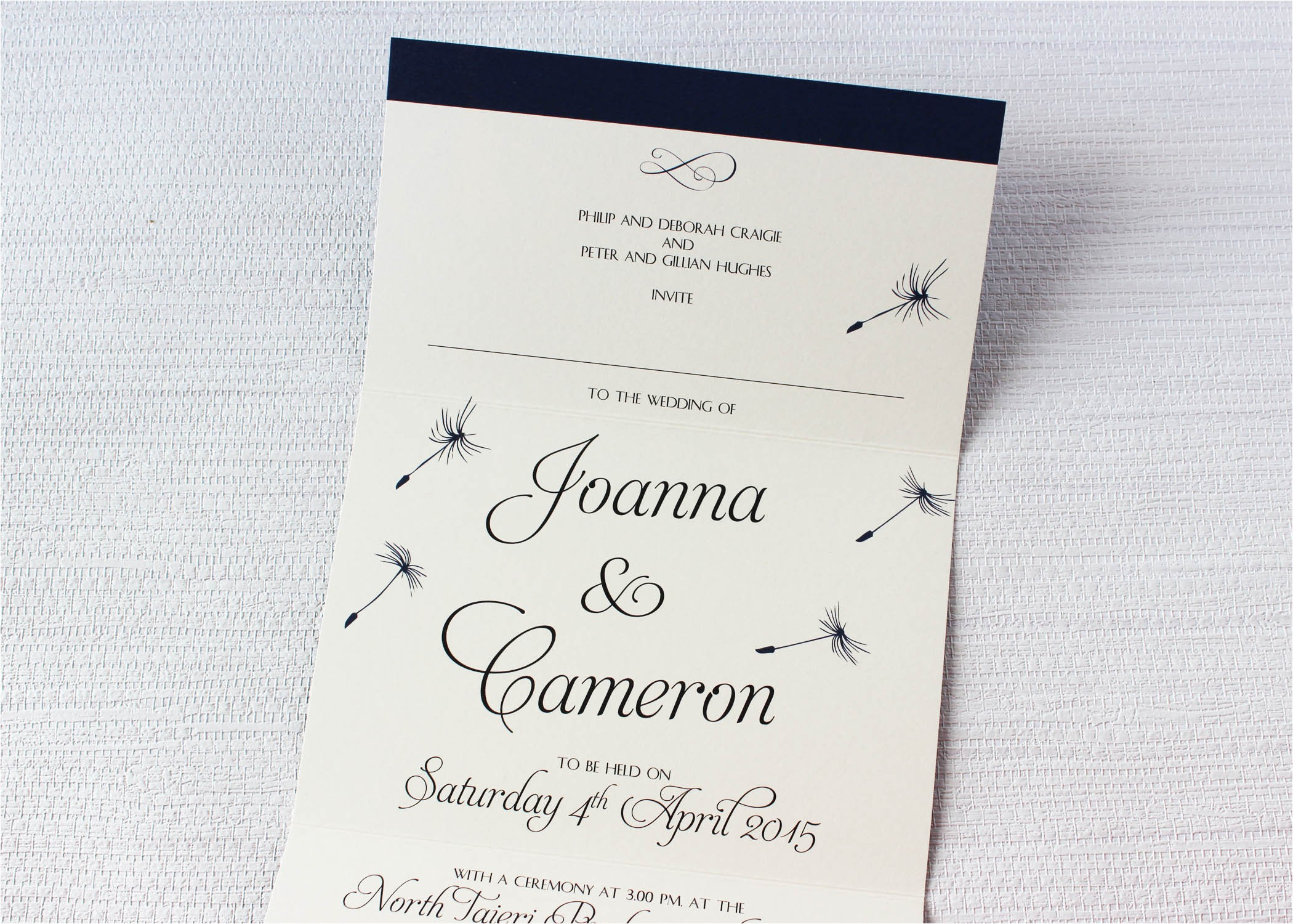 dandelion dreams concertina wedding invitations