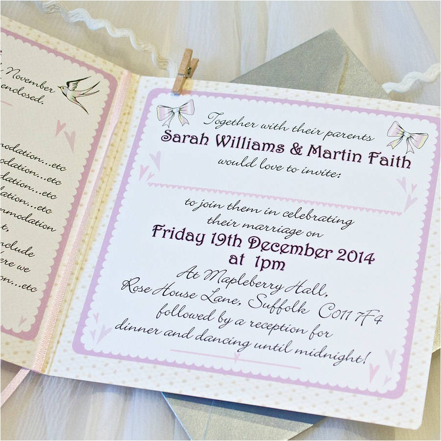 wedding invitation inside message