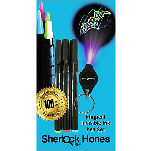 invisible pens uv light awesome magical disappearing inks set 3 pack of colorful fluorescent invisible ink marker pens ultra violet uv black light on keychain kids love secret message writing discreetly mark wedding invitations rsvp s