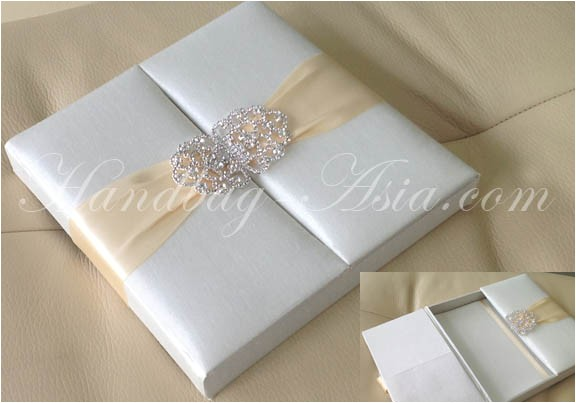 ivory silk wedding invitation box 2