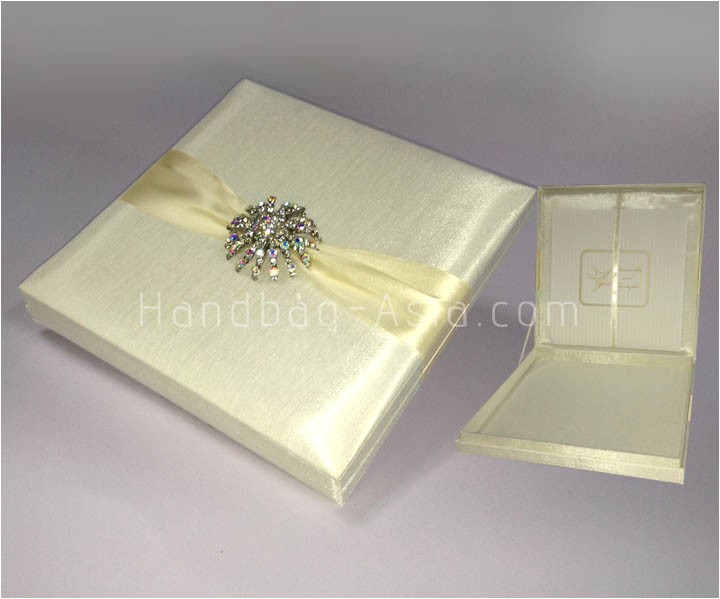 luxury ivory silk wedding invitation box with large brooch