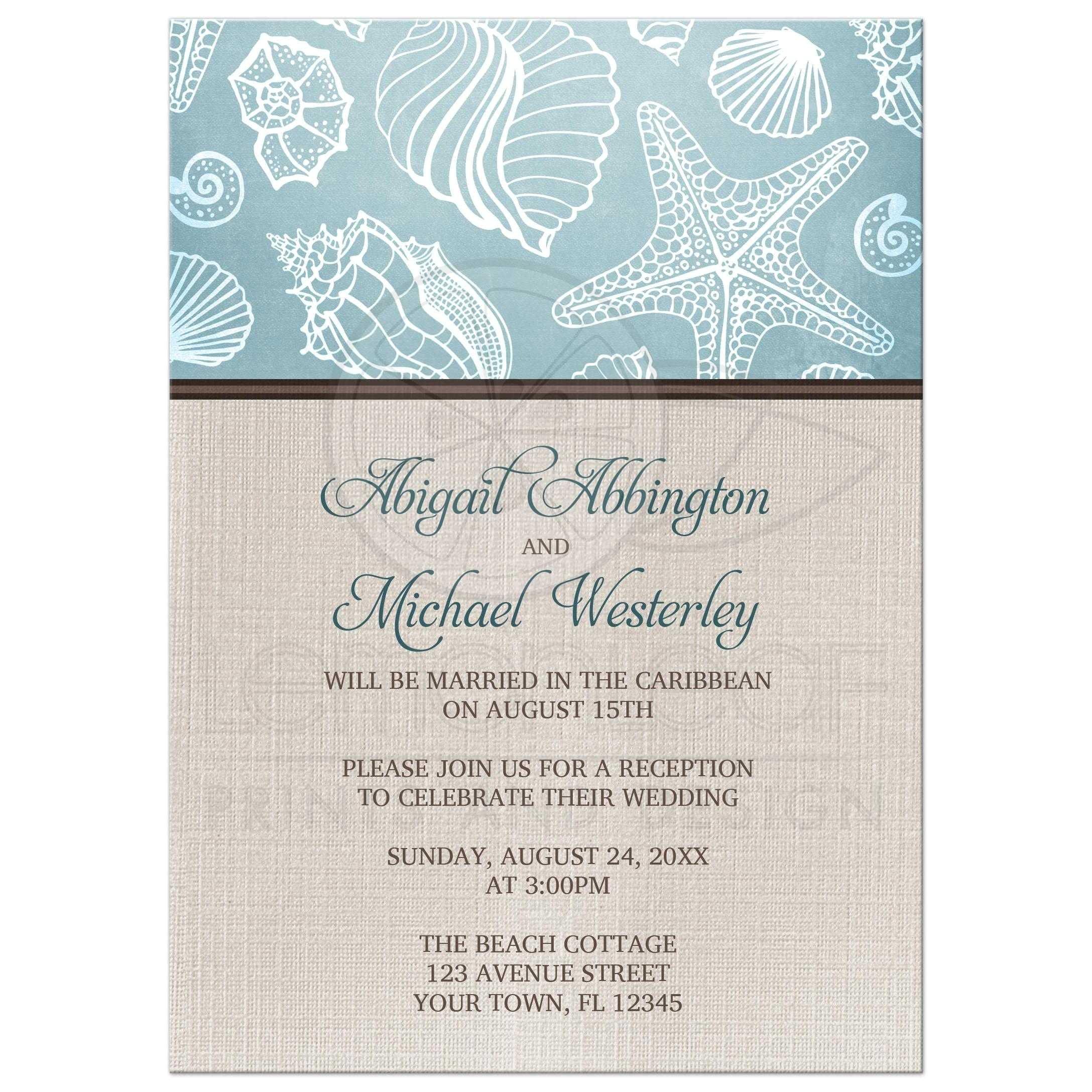 beach themed post wedding reception invitations