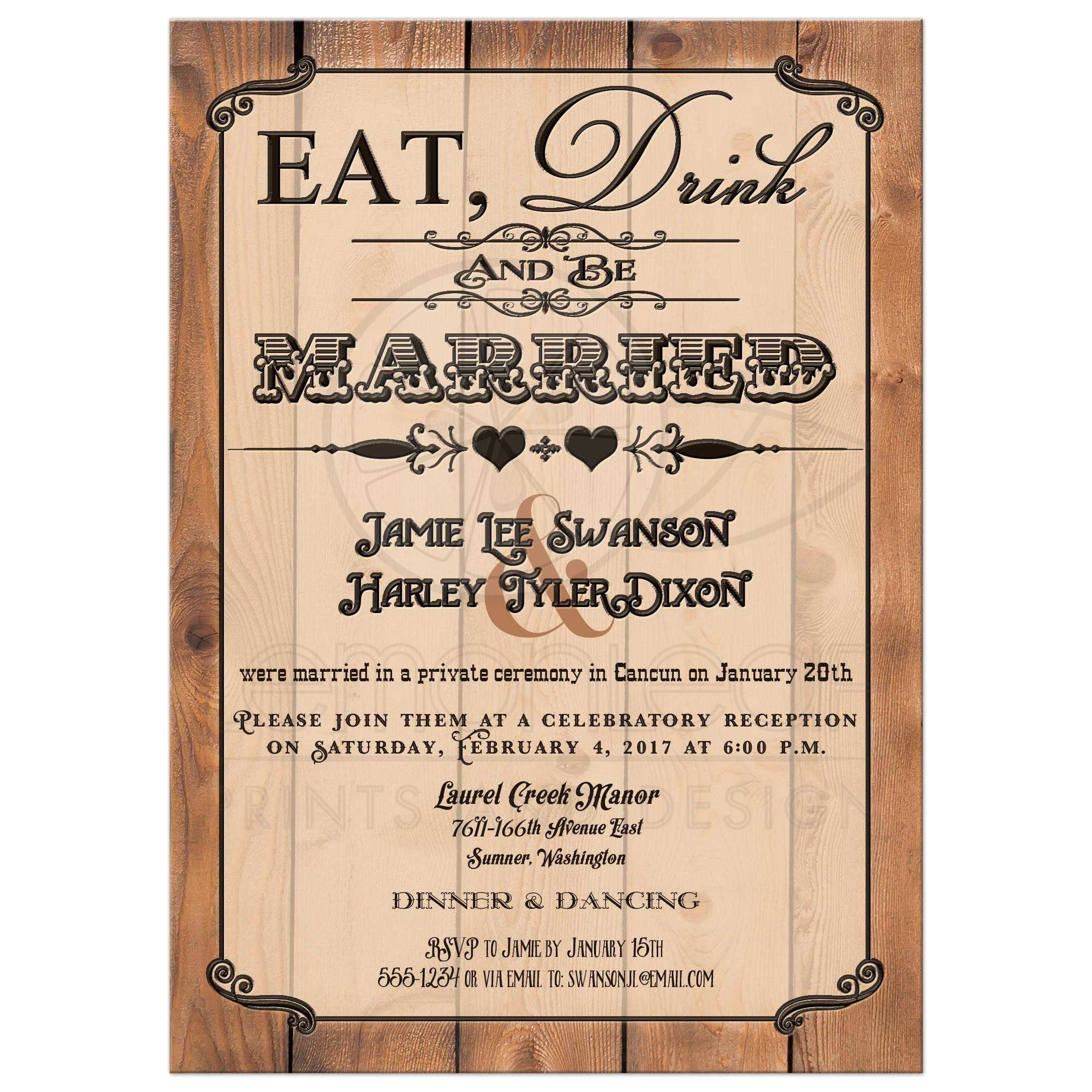 post wedding reception only invitation eat drink and be married faux woodburned vintage poster look