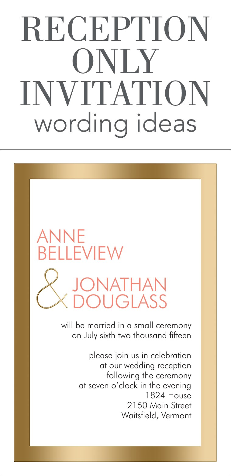 Invite for Wedding Reception Wording Reception Only Invitation Wording Invitations by Dawn