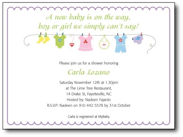 baby shower invitation wording template