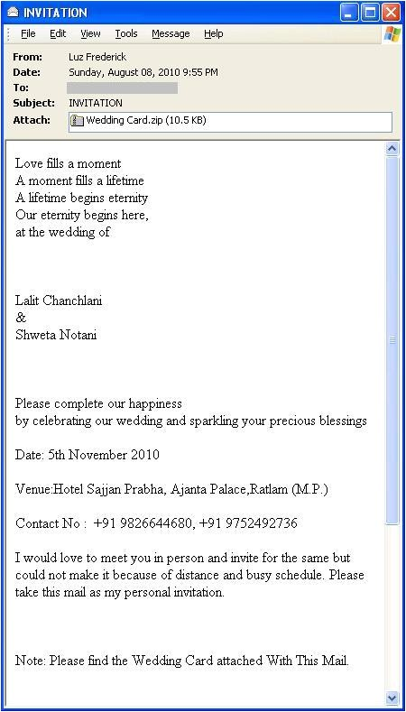 wedding invitation wording in email