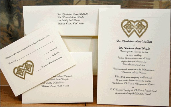 irish wedding invitations square cream green ribbon fold classy