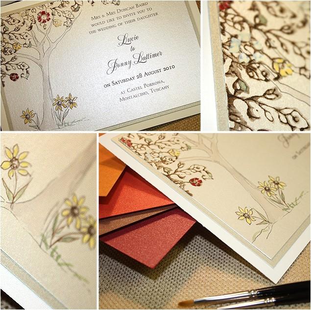 tuscan landscape custom wedding invitationmomental designs