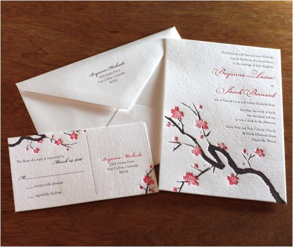 cherry blossom wedding card
