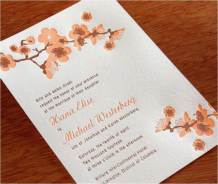 cherry blossom wedding invitation hana