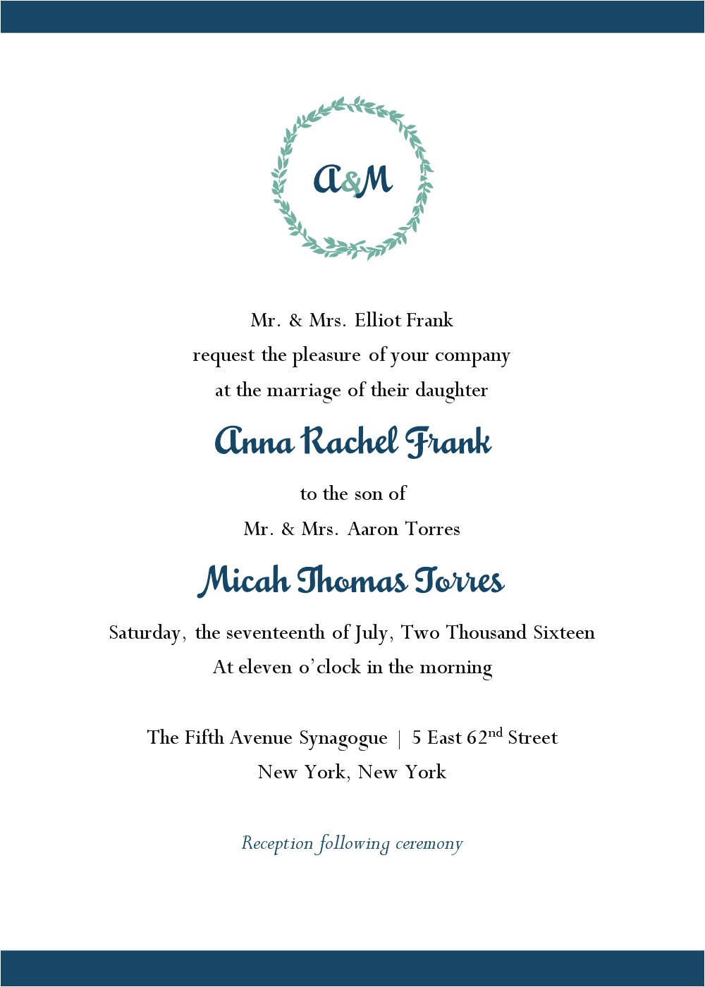wedding invitations jewish wording samples