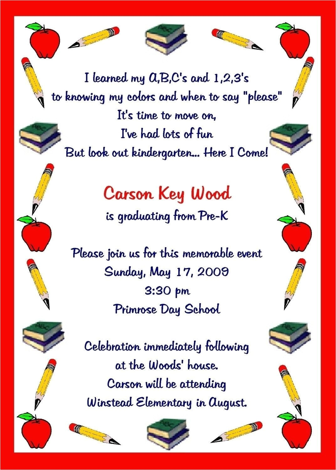 preschool graduation invitation to parents