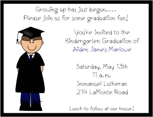 boy preschoolkindergarten graduation invitations