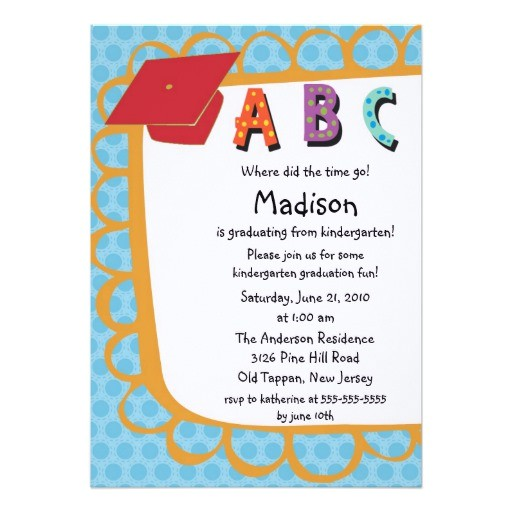 cute pink boys kindergarten graduation invitation 161225159239107362