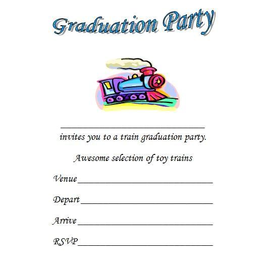 train kindergarten graduation invitations