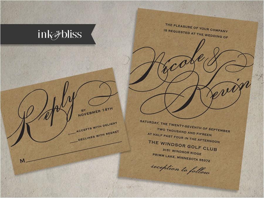 kraft wedding invitation and reply card flourish script font on kraft paper invite diy printable file