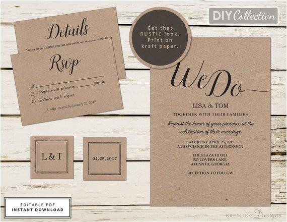 printable kraft wedding invitation kit