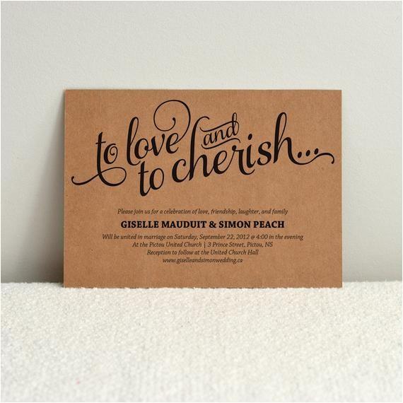 diy kraft paper wedding invitation love