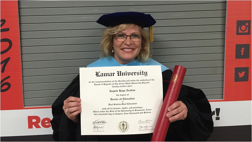 angela trahan 92 earns doctorate from lamar university beaumont texas