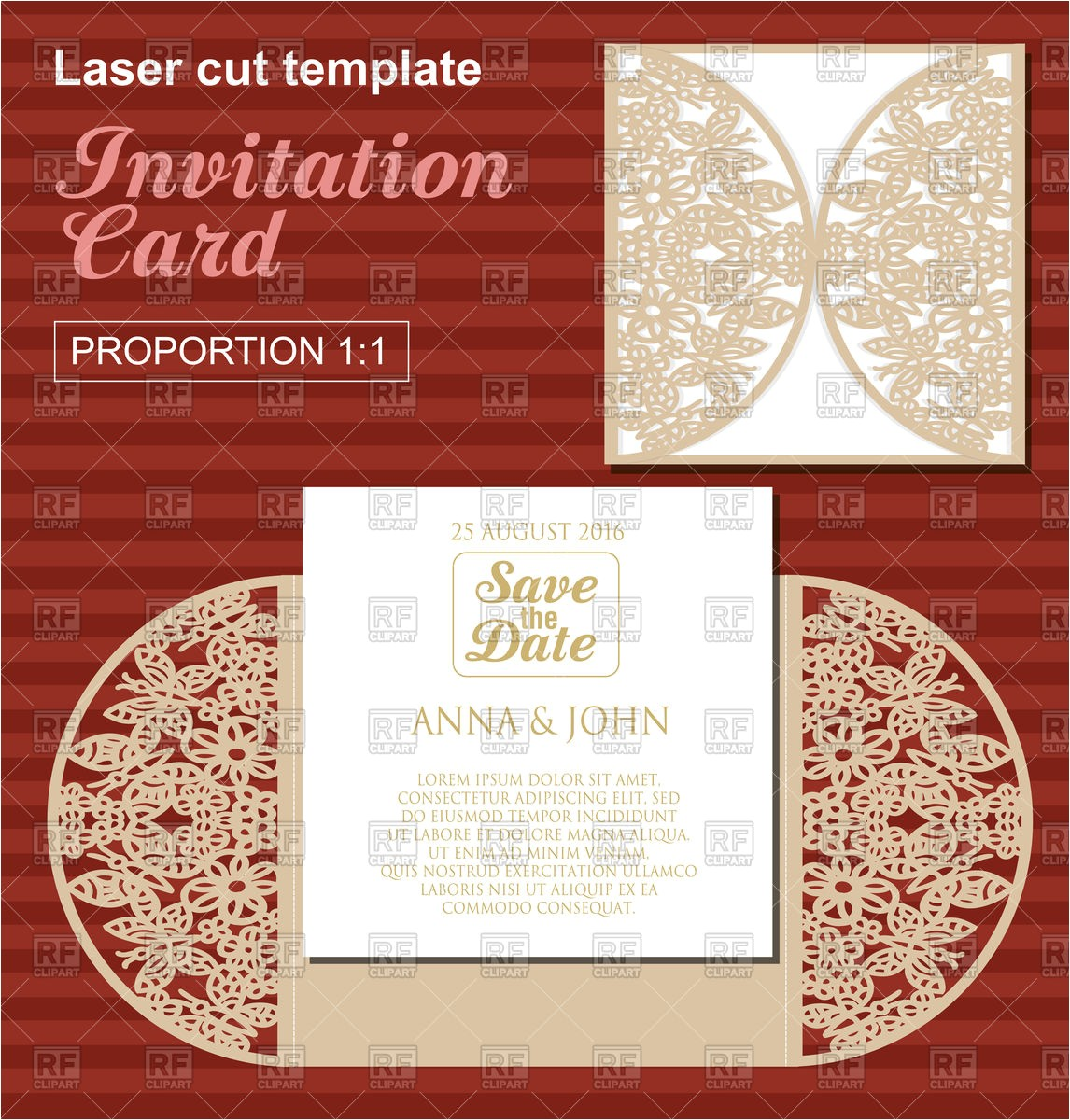 die laser cut wedding card template wedding invitation card with lace 111611 vector clipart
