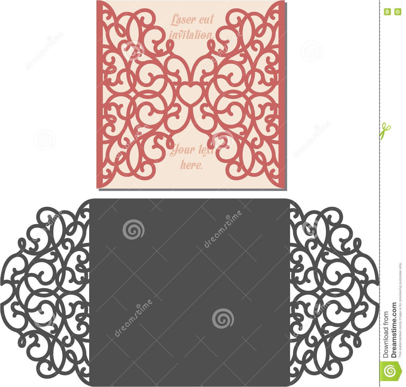 stock illustration laser cut envelope template invitation wedding card cutting pattern image72590060