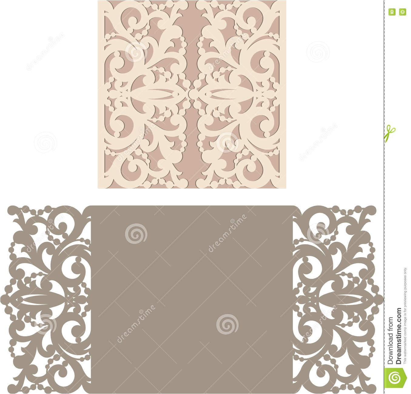 stock illustration laser cut envelope template invitation wedding card cutting pattern image73943466