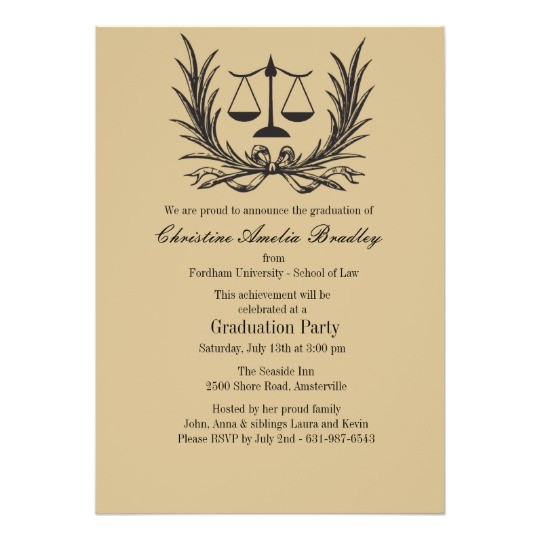 justice wreath law school graduation invitation 161172599063790946