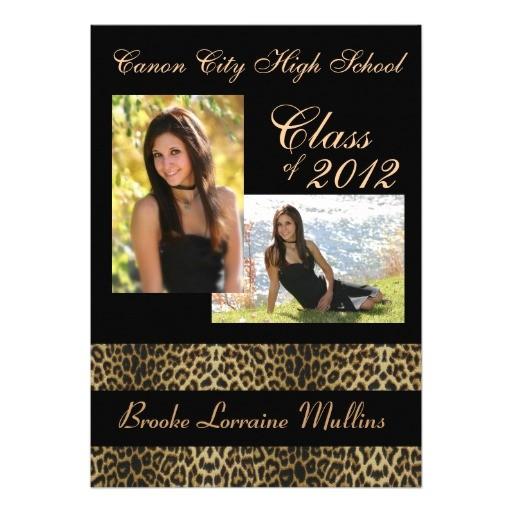 leopard animal print graduation announcement 161326615356595581