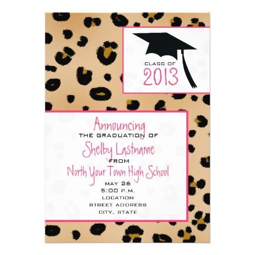 leopard print 2013 graduation announcement 161689247954013341