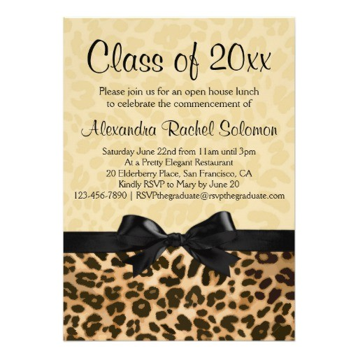 leopard print with bow graduation party invitation 161001206408448694